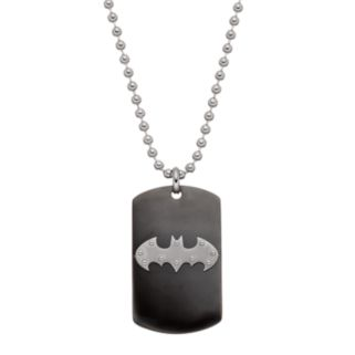 Men's Stainless Steel Batman Logo Dog Tag Necklace