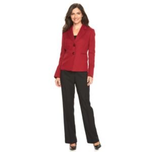 Women's Le Suit Tweed Suit Jacket & Solid Pants Set