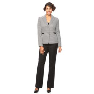 Women's Le Suit Houndstooth 2-Button Suit Jacket & Pants Set