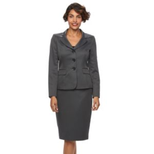Women's Le Suit Houndstooth 3-Button Suit Jacket & Skirt Set