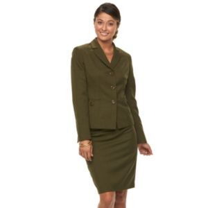 Women's Le Suit Solid Suit Jacket & Pencil Skirt Set