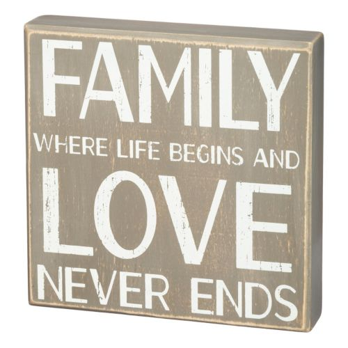 """Family Love Never Ends"" Wooden Box Sign Art"