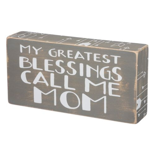 """Greatest Blessings Call Me Mom"" Wooden Box Sign Art"