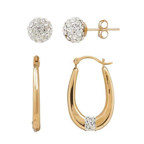 Everlasting Gold 10k Gold Crystal Ball Stud & U-Hoop Earring Set