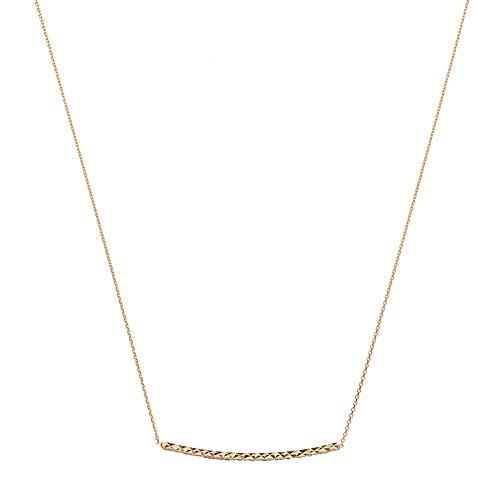 14k Gold Textured Bar Necklace