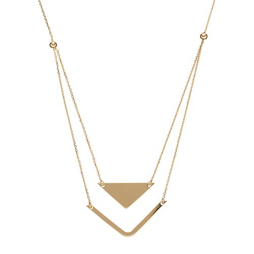 14k Gold Chevron Layered Necklace