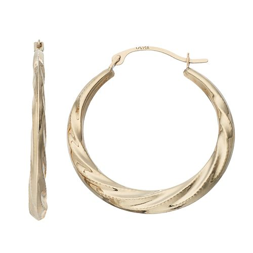 Forever 14K Swirl Hoop Earrings