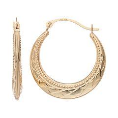 Forever 14K Textured Hoop Earrings