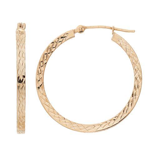 Forever 14K Textured Square Hoop Earrings