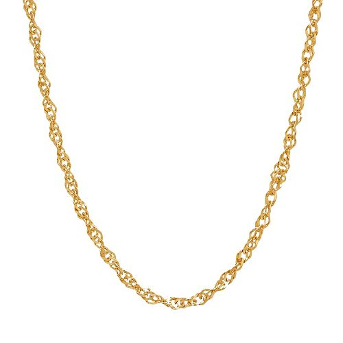 Everlasting Gold 14k Gold Hammered Singapore Chain Necklace - 18 in.