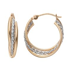 Forever 14K Two Tone Triple Hoop Earrings