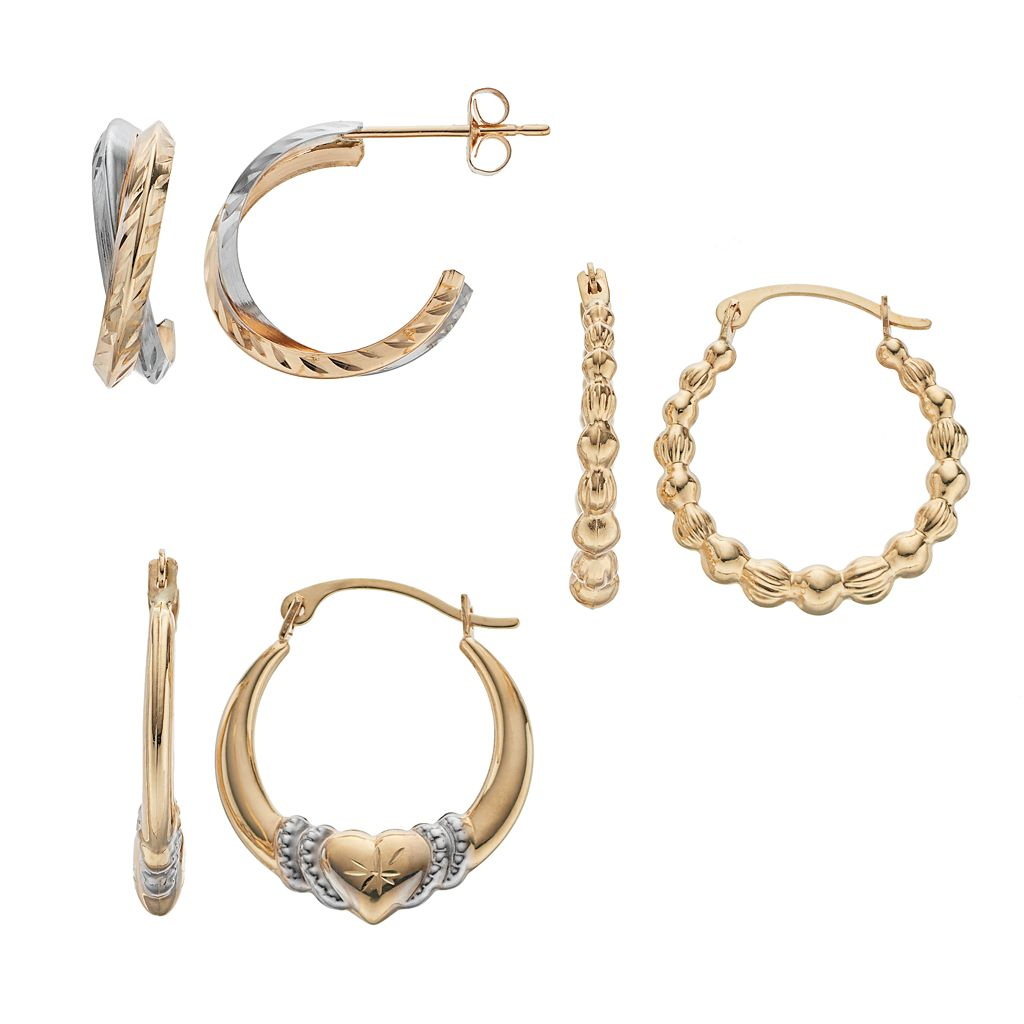 Forever 14K Two Tone Textured & Heart Hoop Earring Set