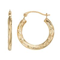 Forever 14K Textured Hoop Earrings