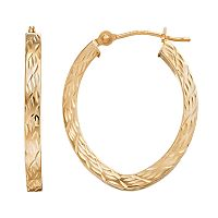 Forever 14K Textured Oval Hoop Earrings