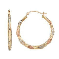 Forever 14K Tri-Tone Textured Hoop Earrings