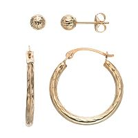 Forever 14K Textured Hoop & Ball Stud Earring Set