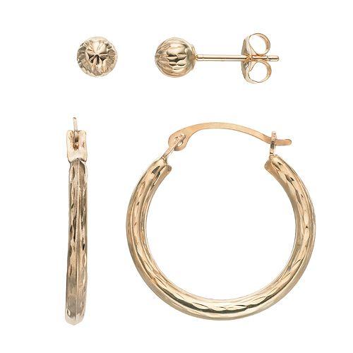 Forever 14K Textured Hoop & Ball Stud Earring Set