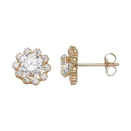 Forever 14K Cubic Zirconia Flower Stud Earrings
