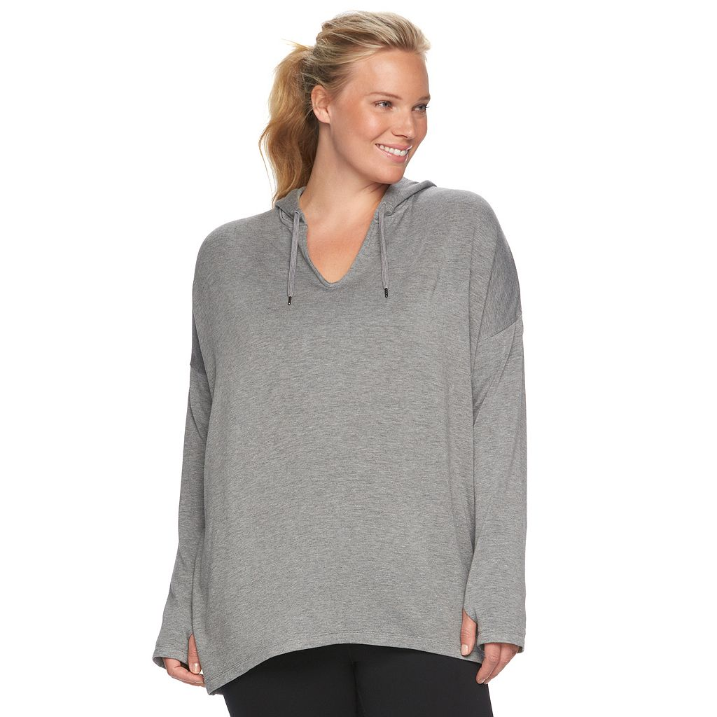Plus Size Gaiam Mindful Hooded Fleece Top