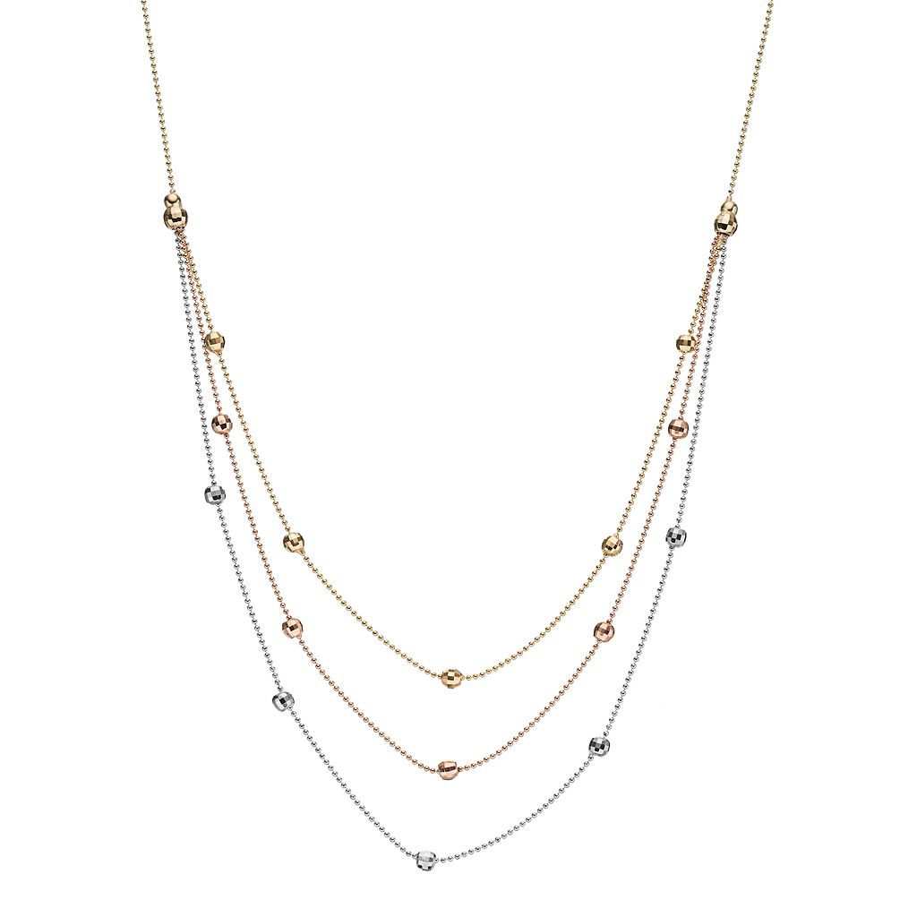 Tri-Tone 14k Gold Beaded Swag Necklace