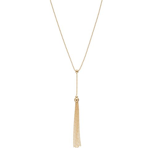 14k Gold Beaded Lariat Necklace