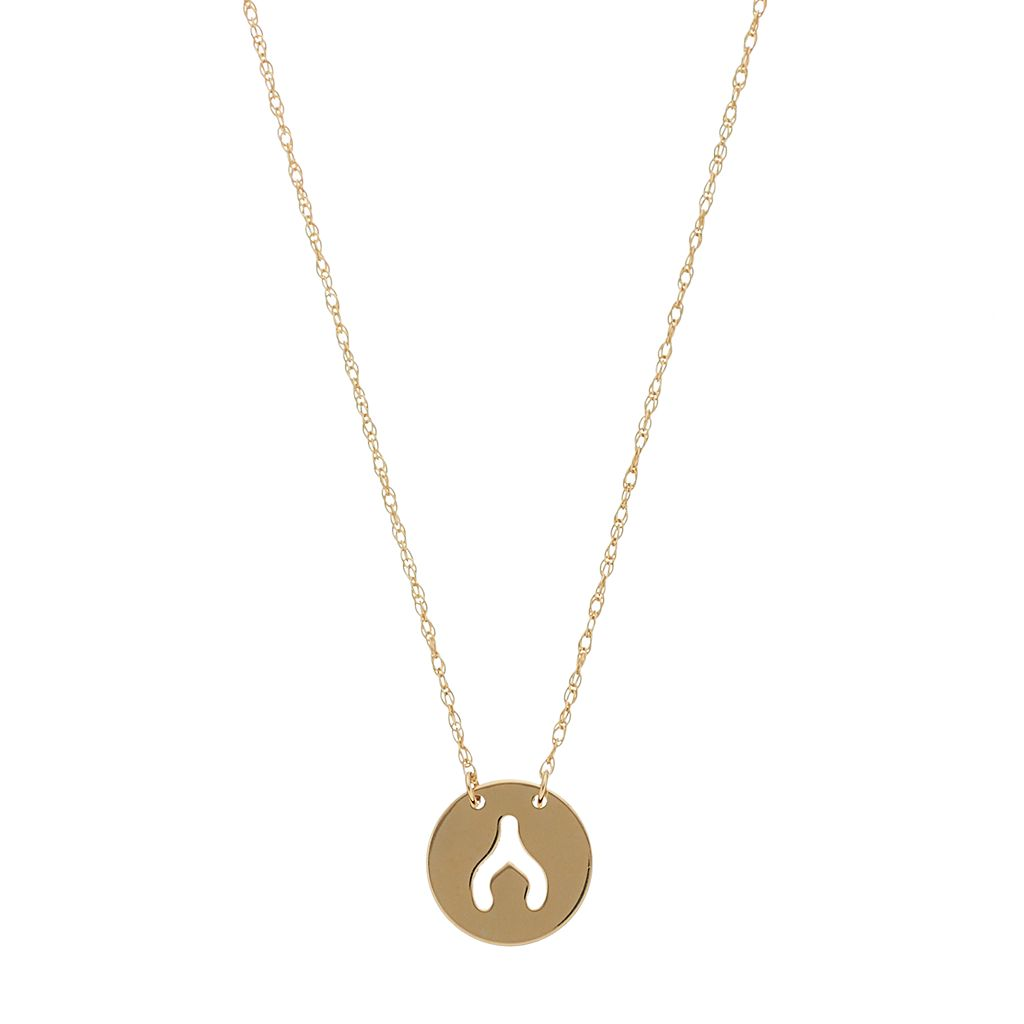 14k Gold Cutout Wishbone Necklace