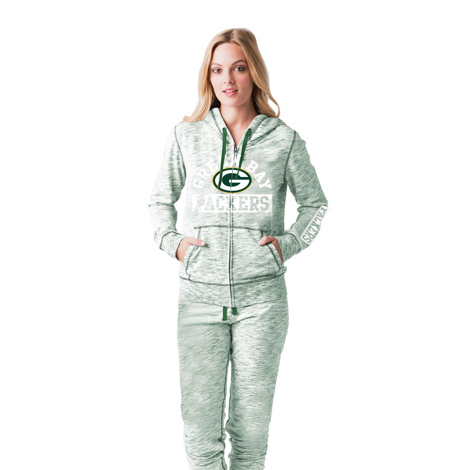 Womens Green Bay Packers Space-Dyed Hoodie