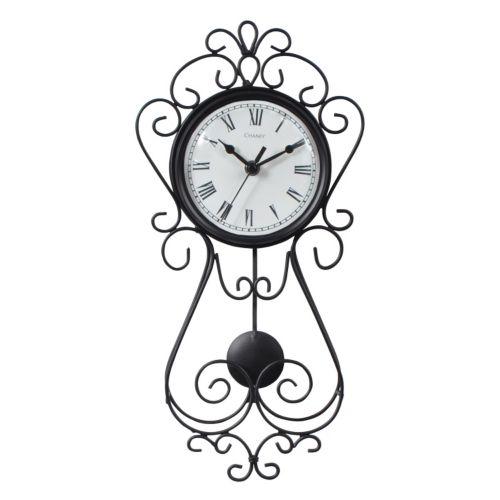 "Chaney 16.5"" Wrought Iron Pendulum Wall Clock"