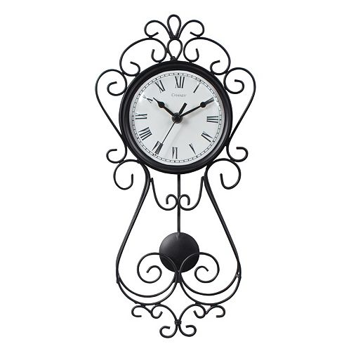 Chaney 16 5 Quot Wrought Iron Pendulum Wall Clock