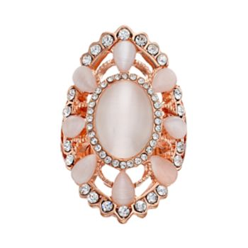 Pink Simulated Cat's-Eye Stretch Ring