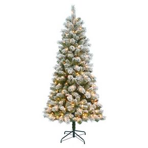 St. Nicholas Square® 7-ft. Pre-Lit Flocked Pinecone Slim ...