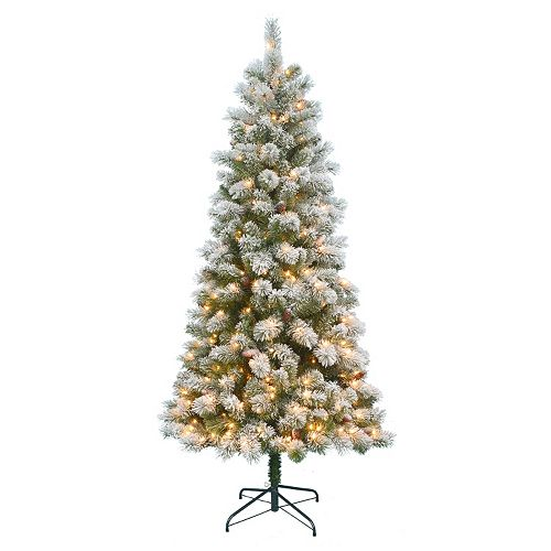 St. Nicholas Square® 7-ft. Pre-Lit Flocked Pinecone Slim Artificial Christmas Tree