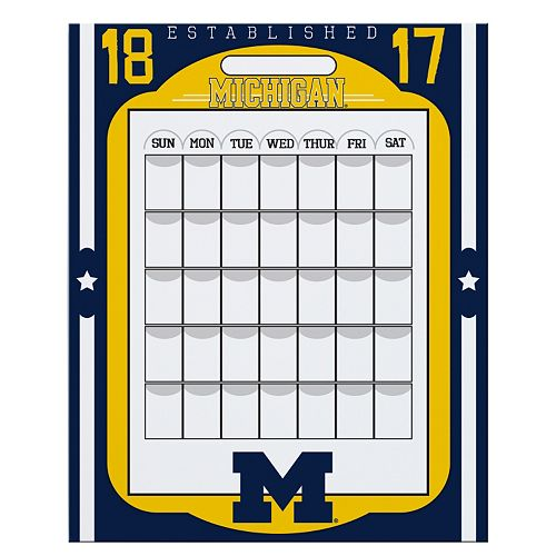 Michigan Wolverines Dry Erase Calendar