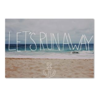 "Trademark Fine Art ""Let's Run Away"" Beach Canvas Wall Art"