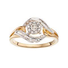 Two Tone Sterling Silver 1/4 Carat T.W. Diamond Swirl Ring