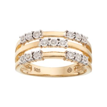 10k Gold Over Silver 1/6 Carat T.W. Diamond Triple Row Ring