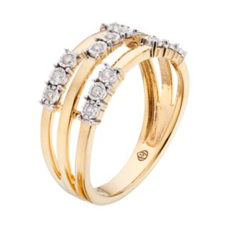 10k Gold Over Silver 1/6 Carat T.W. Diamond Triple Row Ring