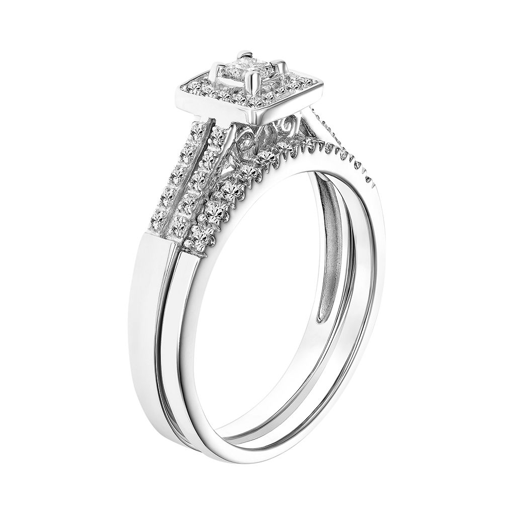 Simply Vera Vera Wang 14k White Gold 1/3 Carat T.W. Certified Diamond Square Halo Engagement Ring Set