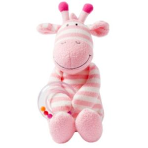 giggle Striped Plush Animal Toy with Ring Rattle