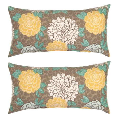 Plantation Patterns Outdoor Lumbar Throw Pillow 2 Piece Set