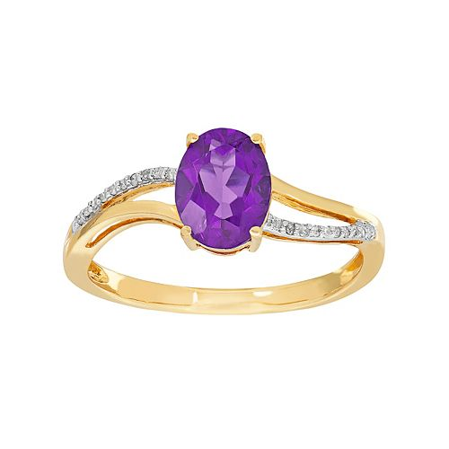 10k Gold Amethyst & Diamond Accent Oval Ring