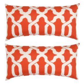 Plantation Patterns Ogee Lumbar Outdoor Throw Pillow 2-piece Set