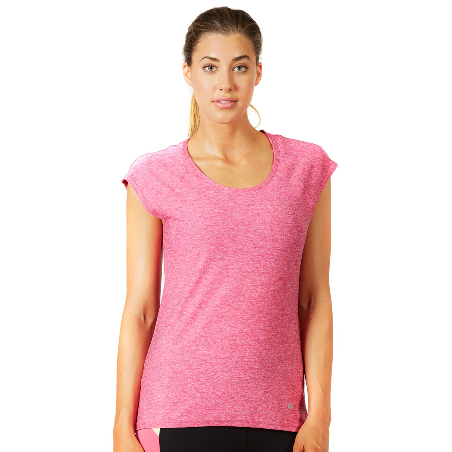 Womens Bally Total Fitness Ruched Back Workout Tee
