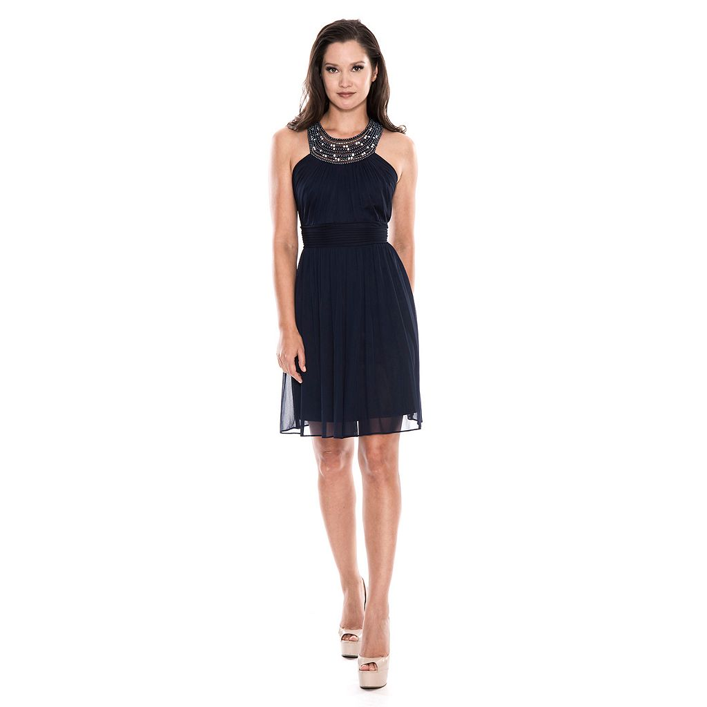 Women's 1 by 8 Beaded Halter Fit & Flare Dress