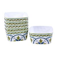 Certified International Blue Grotto 6-pc. Square Ice Cream Bowl Set