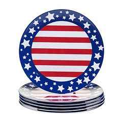 Certified International Stars & Stripes 6 pc Dinner Plate Set