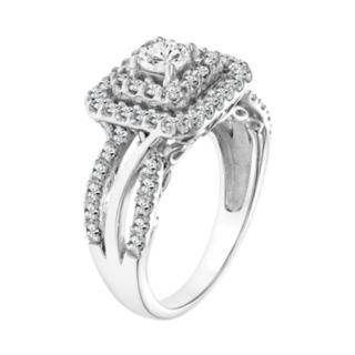 Simply Vera Vera Wang 14k White Gold 1 Carat T.W. Certified Diamond Square Halo Engagement Ring