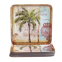 Certified International Antique Palms 6-pc. Square Dinner Plate Set