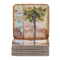 Certified International Antique Palms 12-pc. Canape Plate Set