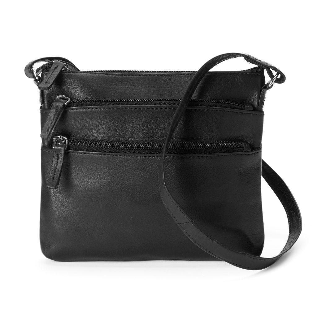 R&R Leather 3-Zip Leather Crossbody Bag